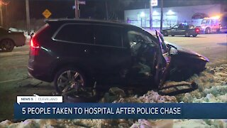5 injured after car crashes following police chase