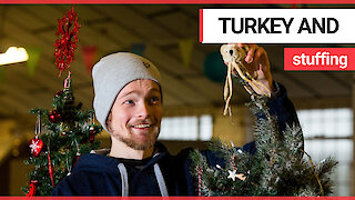 Taxidermist has come up with stuffed festive animals ready for the tree