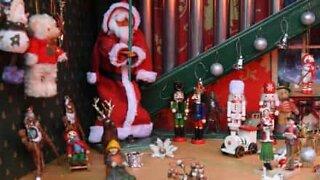 Retiree turns old phone box into a Christmas display