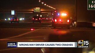Wrong-way driver causes 2 crashes Saturday