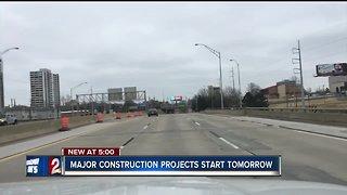 Major construction projects start tomorrow