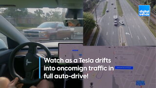 Watch this scary footage of a Tesla auto-driving into oncoming traffic!