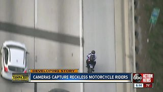 Dangerous motorcyclist caught on camera splitting lanes