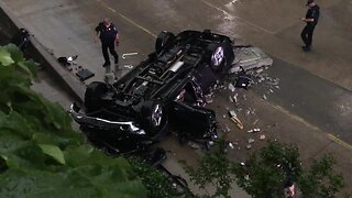 Driver survives after plunging vehicle off parking garage of Saint Francis Hospital