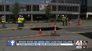 Broken water, sewer lines cause road collapse