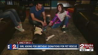 Girl asking for birthday donations for pet rescue