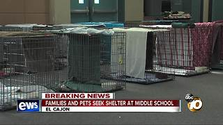 Families and pets seek shelter at middle school