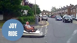 Dash cam captures fairground dodgem car driving on the ROAD