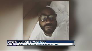 Man slams into tree on Detroit's west side, dies
