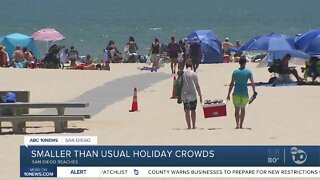 Smaller than usual holiday crowds at San Diego beaches