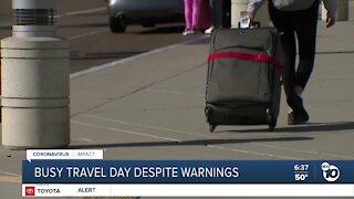 Busy travel day despite warnings