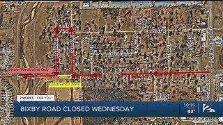 Bixby Road Closed Wednesday, Feb. 12
