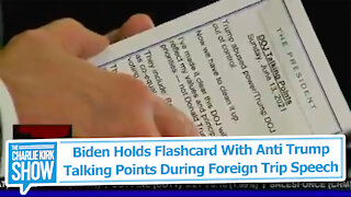 Biden Holds Flashcard With Anti Trump Talking Points During Foreign Trip Speech