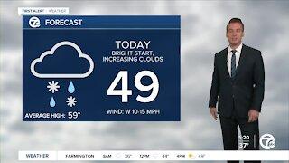 Metro Detroit Forecast: Snow mixing with rain this morning
