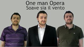 One man trio beautifully sings Mozart's opera