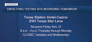 Drive-thru testing site reopening tomorrow