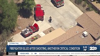 Firefighter killed after shooting, another in critical condition