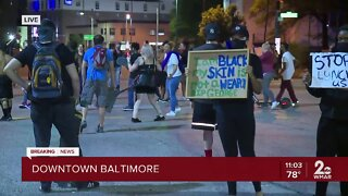 Protestors gather in Downtown Baltimore in response to George Floyd death