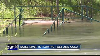 Boise River flowing fast, cold and dangerous