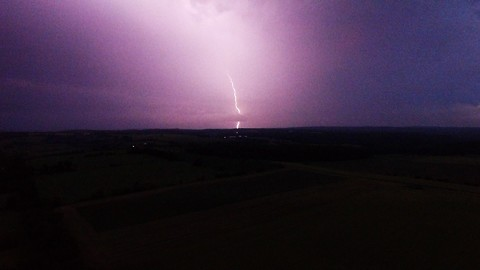 Dramatic lightning storm captured by high altitude drone