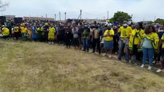 Ramaphosa supporters await his arrival in Mfuleni