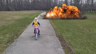 Fake explosion in park
