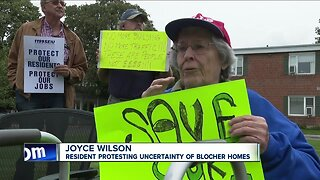 Protest outside Blocher Homes
