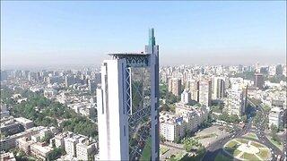 Aerial view at Plaza Italia in Santiago, Chile