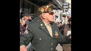 WWII Veteran Fights Back Against Anti Trump Protestors.