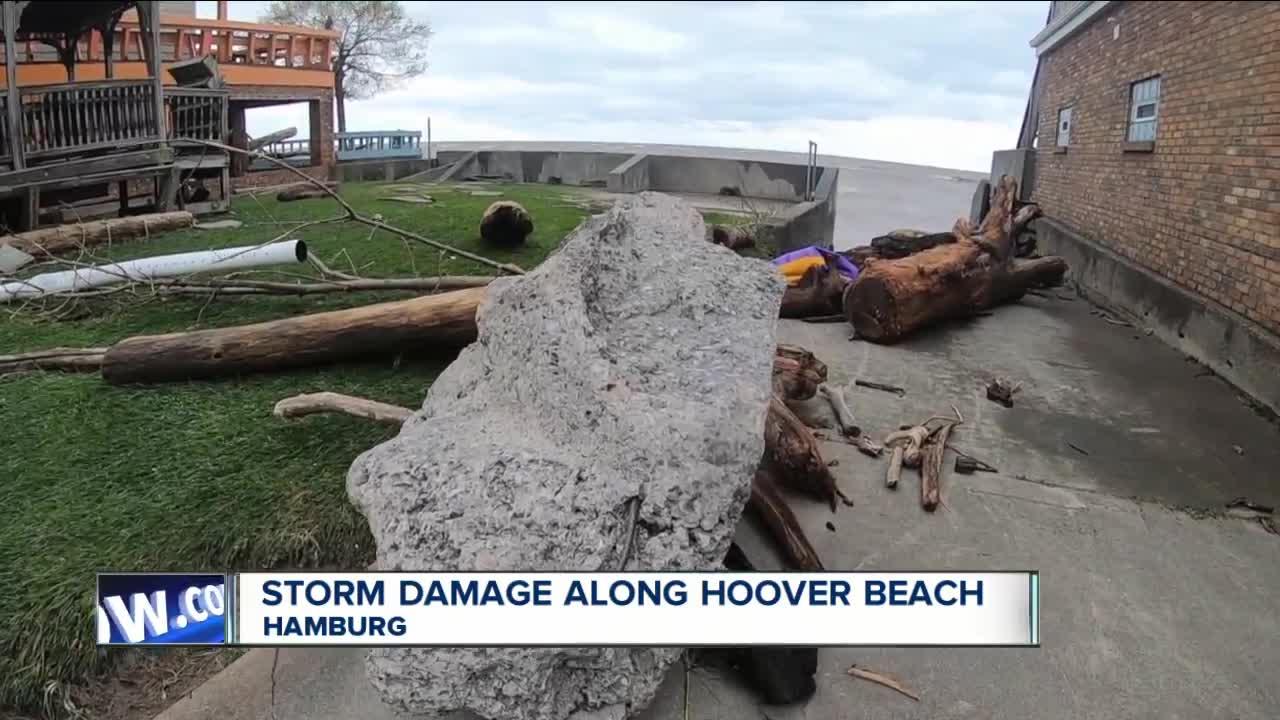 Storm damage along Hoover Beach