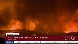 Fire destroys building in Barrio Logan