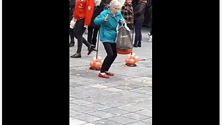 Elderly woman shows off her dance moves