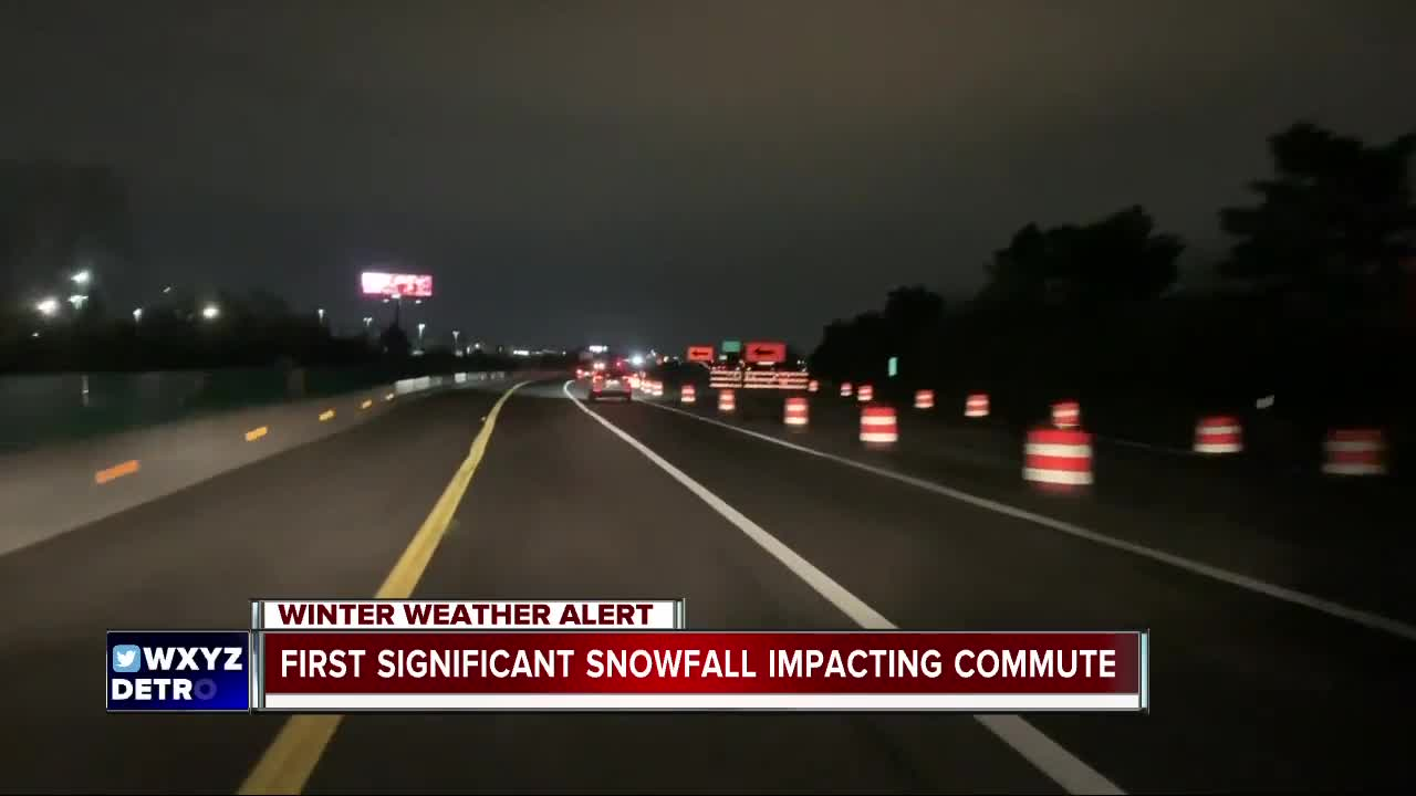 First significant snowfall of the season affecting morning commute