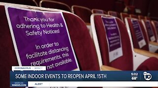 Some San Diego indoor events to reopen April 15