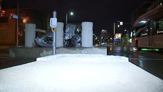 Car slams into RTA bus station in Cleveland