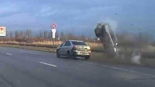 Car spectacularly flips over in dramatic road accident in Russia!