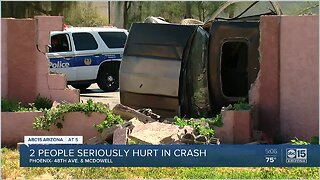 Three hurt in west Phoenix after crash sends vehicle into wall