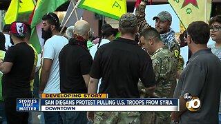 San Diegans protest pulling U.S. troops from Syria