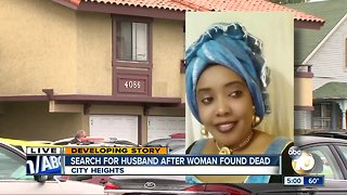 Search for husband after woman found dead