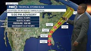 Tropical Storm Elsa still has winds of 70 mph