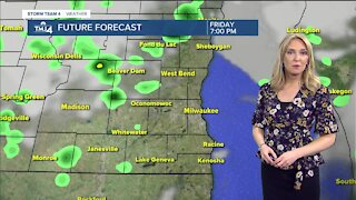 Scattered showers possible Friday evening with lows in the 40s
