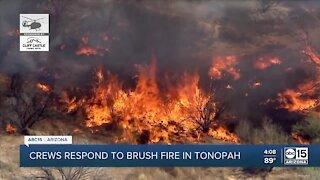 Crews respond to brush fire in Tonopah