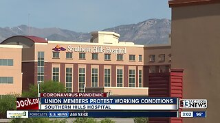 Union members protest working conditions at Las Vegas hospitals