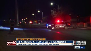 Three arrested after chase, standoff in Las Vegas