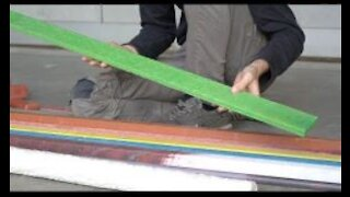 Extrude beams from plastic waste