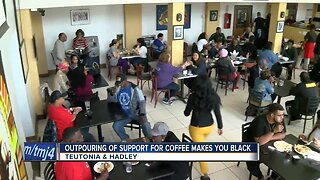 Community members showing support for coffee makes you black