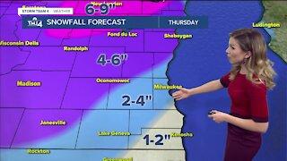 Snow moves in Thursday