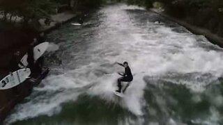 Surfing in a river in Munich