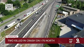 Fiery crash involving semis kills two people, shuts down I-75
