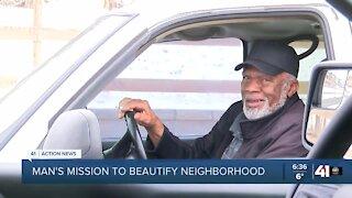 Man's mission to beautify neighborhood.